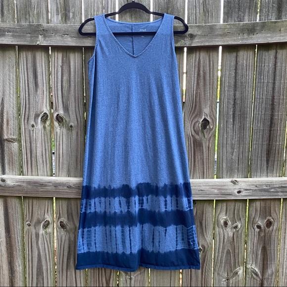 J Jill Blue Tie Dye Sleeveless Cotton Dress